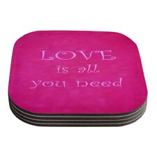 Love is all you need by Iris Lehnhardt Coaster (Set of 4)