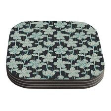 My Grey Spotted Flowers by Julia Grifol Coaster (Set of 4)