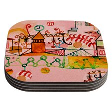 Happy Town by Marianna Tankelevich Coaster (Set of 4)