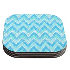 Mint Snow Chevron by Marianna Tankelevich Coaster (Set of 4)