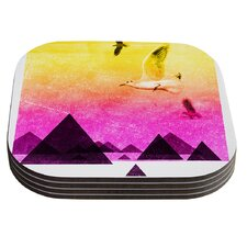 Seagulls in Shiny Sky by Frederic Levy-Hadida Coaster (Set of 4)