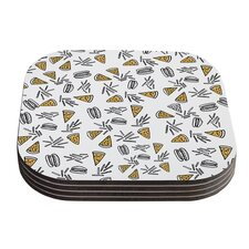 Burgers and Pizza by Vasare Nar Food Coaster (Set of 4)