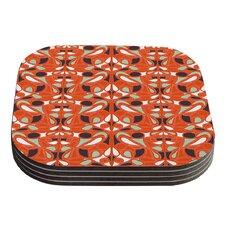Orange Swirl Kiss by Miranda Mol Coaster (Set of 4)