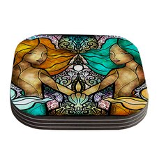 Mermaid Twins by Mandie Manzano Coaster (Set of 4)
