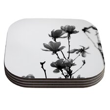 Mulan Magnolia by Monika Strigel White Gray Coaster (Set of 4)
