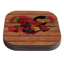 Wooden Heart by Louise Machado Coaster (Set of 4)