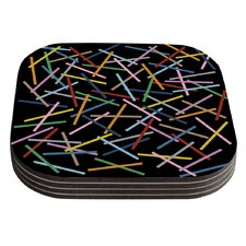 Sprinkles on Black by Project M Coaster (Set of 4)