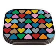 Up and Down Hearts on Black by Project M Coaster (Set of 4)