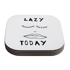 Lazy Today Grey by Vasare Nar Typography Coaster (Set of 4)