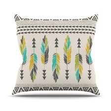 Painted Feathers by Amanda Lane Throw Pillow