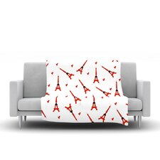 Paris by Louise Fleece Throw Blanket