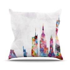 New York by Mareike Boehmer Rainbow City Throw Pillow