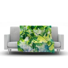 Leaves by Sylvia Cook Fleece Throw Blanket