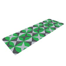 Silver and Green Abstract by Empire Ruhl Yoga Mat