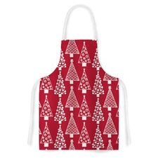 Jolly Trees by Emine Ortega Crimson Artistic Apron
