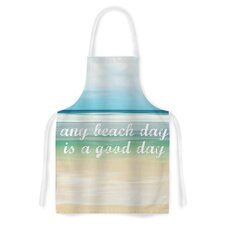 Any Beach Day by Sylvia Cook Coastal Typography Artistic Apron