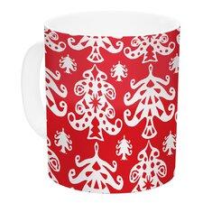 Ornate Trees by Miranda Mol 11 oz. White Holiday Ceramic Coffee Mug