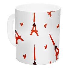 Paris by Louise 11 oz. White Ceramic Coffee Mug