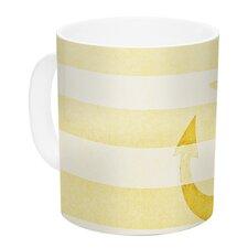 Stone Vintage Anchor by Monika Strigel 11 oz. Mustard White Ceramic Coffee Mug