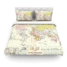Travel by Catherine Holcombe World Map Featherweight Duvet Cover