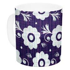 Navy Flower by Louise Machado 11 oz. White Ceramic Coffee Mug