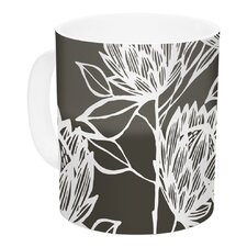 Protea Graphite by Gill Eggleston 11 oz. Flowers Ceramic Coffee Mug