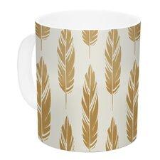Feathers by Amanda Lane 11 oz. Mustard Ceramic Coffee Mug