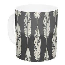 Feathers by Amanda Lane 11 oz. Dark Ceramic Coffee Mug