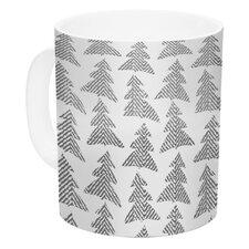 Herringbone Forest by Michelle Drew 11 oz. Gray White Ceramic Coffee Mug