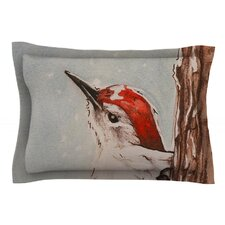 Downy Woodpecker by Brit y Guarino Cotton Pillow Sham