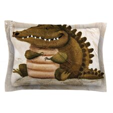 Smiley Crocodiley by Rachel Kokko Tan Cotton Pillow Sham