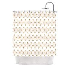 Linen Polka Stripes by Pellerina Design Dots Shower Curtain