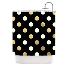 Golden Dots Metallic Shower Curtain