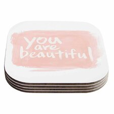 Brush Lettering Beautiful Peach Coaster (Set of 4)