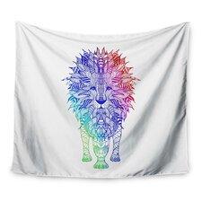 Rainbow Lion by Monika Strigel Wall Tapestry