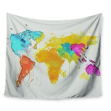 World Map by Oriana Cordero Wall Tapestry