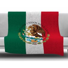 Mexico Flag And Coat Of Arms by Bruce Stanfield Fleece Blanket