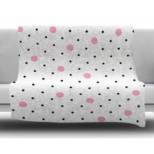 Pin Points Polka Dot Pink by Project M Fleece Blanket