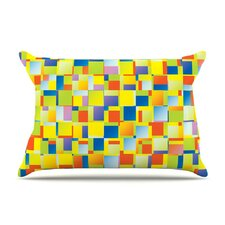 Multi Color Blocking Geometric by Dawid Roc Cotton Pillow Sham