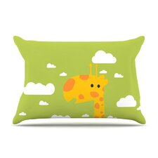 Baby Giraffe by Strawberringo Green Featherweight Pillow Sham