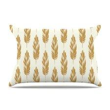 Feathers Mustard by Amanda Lane Cotton Pillow Sham