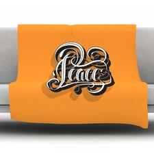 Peace by Roberlan Fleece Throw Blanket