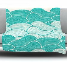 The Calm and Stormy Seas by Pom Graphic Design Fleece Throw Blanket