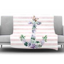 Floral Anchor by Nika Martinez Fleece Throw Blanket