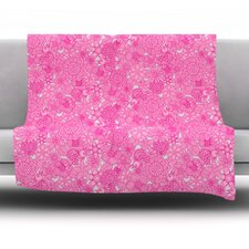 Welcome Birds To My Pink Garden by Julia Grifol Fleece Blanket