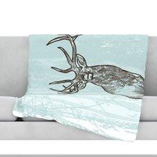 Elk Scene Fleece Throw Blanket