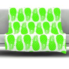 Pinya Lime by Anchobee Fleece Throw Blanket