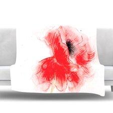 Poppy by Louise Fleece Throw Blanket