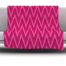 Berry Pink Chevron by Amanda Lane Fleece Throw Blanket