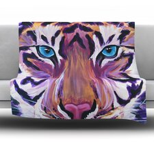 Purple Tiger by Brienne Jepkema Fleece Throw Blanket